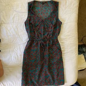 Royal colors dress with peacock feather print